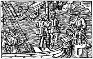 Een heks verkoopt gevangen wind. Afbeelding uit 1555