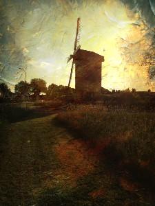 Ook schilders werden geïnspireerd door de zomer. Afbeelding van een molen.