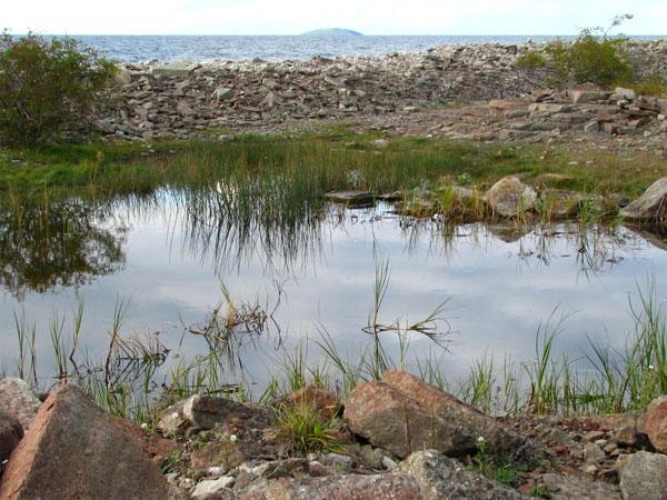 In de verte het eiland Blå Jungfrun, gezien vanaf Öland. © foto: Erik