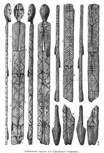 Het houten beeld uit Shigir, getekend door Vladimir Tolmatsjev in 1916. Afbeelding van Wikipedia