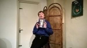 Matthew Levi Stevens with Burroughs book March 2016